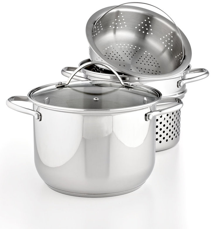 Tools of the Trade Stainless Steel 8 Qt. Covered Stockpot with Pasta & Steamer Inserts
