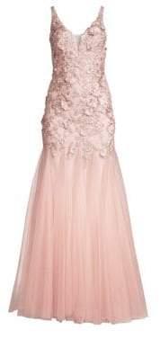 Basix Black Label 3-D Floral Tulle Godet A-Line Gown