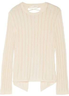 A.L.C. Miguel Lace-Up Open-Knit Cotton-Blend Sweater