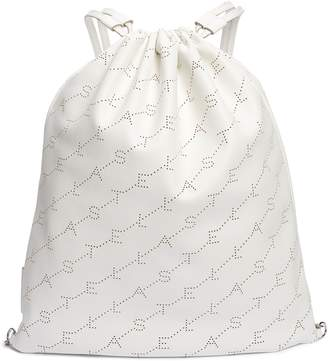 Stella McCartney Perforated Logo Faux Leather Drawstring Backpack