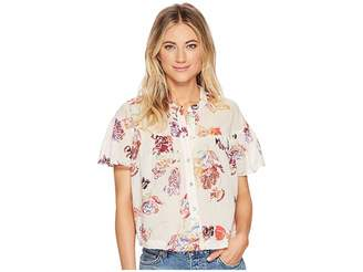 Free People Sweet Escape Button Down Top Women's Short Sleeve Button Up