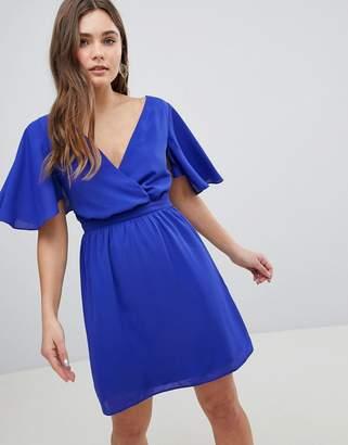 Asos DESIGN Flutter Sleeve Cross Over Mini Dress