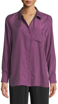 Eileen Fisher Washed Silk Habutai Long-Sleeve Button-Front Blouse, Plus Size