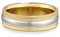 Gents Eli Simple Wedding Band Ring in Platinum & 18K Gold, Size 10