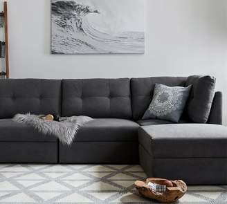 Pottery Barn Burnett Upholstered 4-Piece Reversible Sofa Chaise Sectional