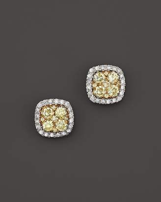 Bloomingdale's Yellow and White Diamond Stud Earrings in 14K White and Yellow Gold - 100% Exclusive