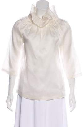 Loeffler Randall Silk Long Sleeve Top