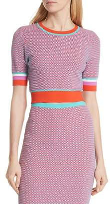 Diane von Furstenberg Crewneck Colorblock Crop Sweater