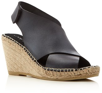 Kenneth Cole Quin Leather Espadrille Wedge Sandals $130 thestylecure.com