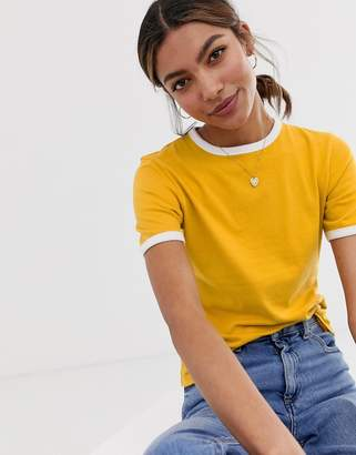 Asos Design DESIGN fitted t-shirt with contrast trim in yellow