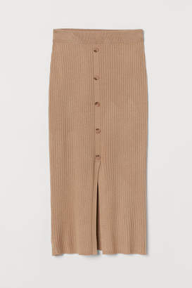 H&M Rib-knit Skirt - Beige