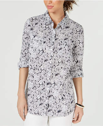 Charter Club Plus Size Linen Printed Blouse