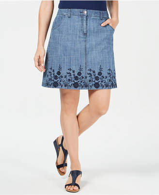 Karen Scott Embroidered Denim Skirt