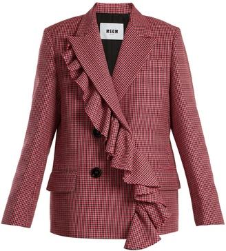 Asymmetric-ruffled double-breasted wool jacket