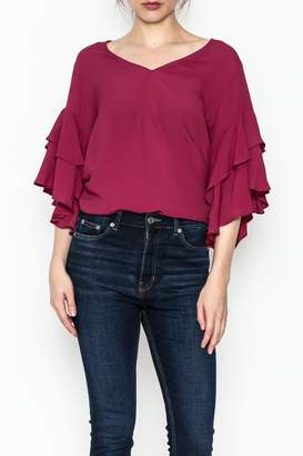 Fifteen-Twenty Fifteen Twenty Ruffle V Neck Top