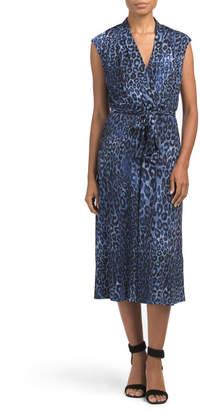 Sleeveless Leopard Print Midi Dress