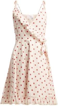 Athena PROCOPIOU Embroidered cotton-blend wrap dress