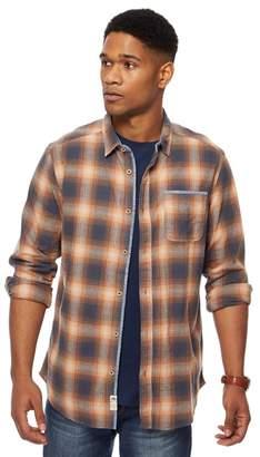 Mantaray Big And Tall Orange And Navy Ombre Checked Shirt