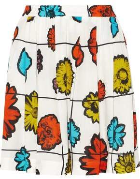 Moschino Pleated Floral-Print Georgette Mini Skirt
