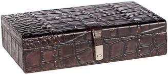 "Barclay Butera For Bradburn Home 10"" Leather Study Box - Dark Brown/Silver"