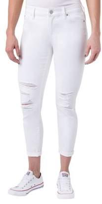 Planet Pink Juniors' Super Stretch Double Rolled Denim Capri Pants