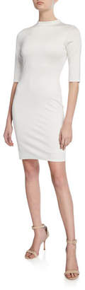 Alice + Olivia Delora Mock-Neck Elbow-Sleeve Fitted Dress
