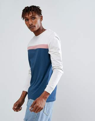 Asos DESIGN Long Sleeve T-Shirt With Color Block Panels And Cuff