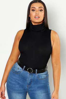 boohoo Plus Roll Neck Sleeveless Top