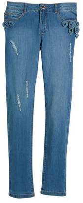 Mayoral Distressed Jeans w/ Floral Appliqués, Size 8-16