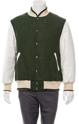 Thom Browne Wool & Leather-Trimmed Varsity Jacket