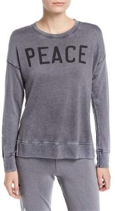 Sundry Peace High-Low Crewneck Pullover