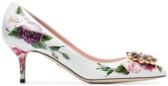 Dolce & Gabbana white 60 crystal embellished floral leather pumps