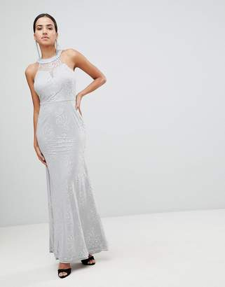 AX Paris High Neck Lace Maxi Dress