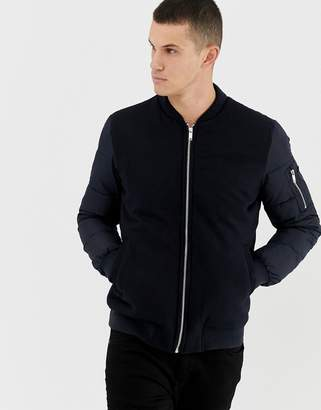 Celio padded bomber with contrast fabric in blue