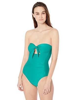 Carmen Marc Valvo Women's Bandeau one Piece Swimsuit with Removable Cups,4