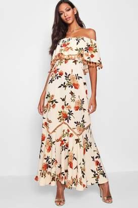 boohoo Floral Off The Shoulder Tassel Trim Maxi Dress