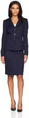 Le Suit LeSuit Women's Jacquard 3 Button Collarless Skirt Suit