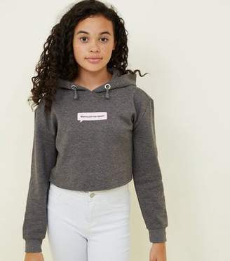 New Look Girls Grey Squad Slogan Cropped Hoodie