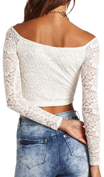Charlotte Russe Lace Long Sleeve Crop Top