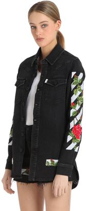 Roses Embroidered Cotton Denim Shirt $813 thestylecure.com