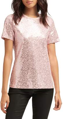 DKNY Short-Sleeve Sequin Top