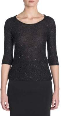 Giorgio Armani Sequin Elbow-Length Sleeve Sweater