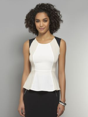 New York & Co. Silky Colorblock Peplum Blouse