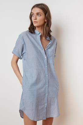 Velvet by Graham & Spencer BAYLA PINSTRIPE SHORT SLEEVE SHIRT DRESS