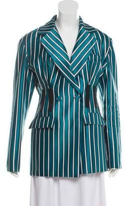 Self-Portrait Striped Button-Up Blazer