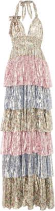 LoveShackFancy Clarissa Tiered Floral Silk-Blend Lamé Maxi Dress