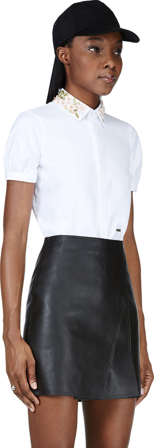 DSquared Dsquared2 White Beaded Collar Blouse