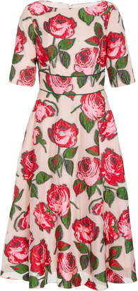 Lela Rose Embroidered Floral Fil Coupé Midi Dress