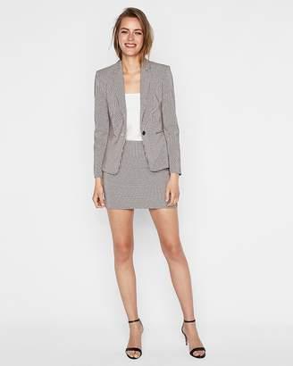 Express High Waisted Check Straight Mini Skirt