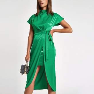 River Island Green wrap tie side midi dress